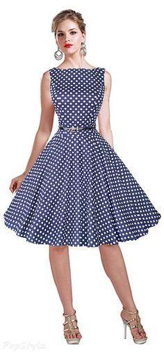 Shop Maggie Tang Hepburn Vintage Rockabilly Dress Size L Color Blue White. Vintage Dresses 50s, Vestidos Vintage, Vintage Outfits, Rockabilly Dresses, 1950s Dresses, Vintage Shoes, Rockabilly Shoes, Rockabilly Fashion, Mode Outfits