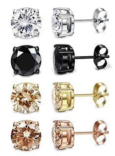 Stud Earrings Women 316L Ear Piercing Cubic Zirconia 3-8mm 4 Earrings for Men #StudEarrings