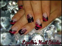 Black tips with hot pink leopard print design.  Hand-painted nail art. Sculpted gel nails. www.facebook.com/LizellesGelNails