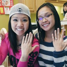 How cool is this? Sisters Farrah and Cindy are both rocking engagement rings from Wedding Day Diamonds! Congrats to both of the happy couples! <3 So happy to have been able to help you guys!