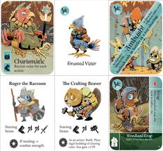 A few of the cards from the PNP version of the game Game Card Design, Board Game Design, Game Character, Character Design, Root Image, Pugs, Up Book, Latest Games, Asymmetrical Design