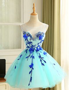 Cocktail Party Dress Ball Gown Jewel Knee-length Tulle with Appliques 5086577 2016 – $55.99