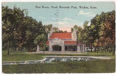 antique postcard Wichita Kansas, Rest Room at North Riverside Park, postmarked 1913
