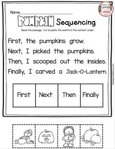 PUMPKIN SEQUENCING - plus October in kindergarten reading and math worksheets no prep activities - alphabet - numbers - counting - sight words and more! Kindergarten Classroom Decor, Classroom Fun, Kindergarten Worksheets, Kindergarten Crafts, Preschool, Sequencing Worksheets, Reading Worksheets, Free Worksheets, Sight Words