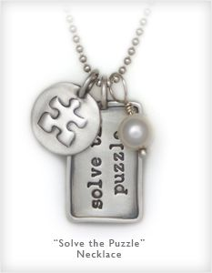 Solve The Puzzle Necklace to Benefit the Doug Flutie Jr. Foundation for Autism. Engrave your personal message on the back. Heart and Stone Jewelry.