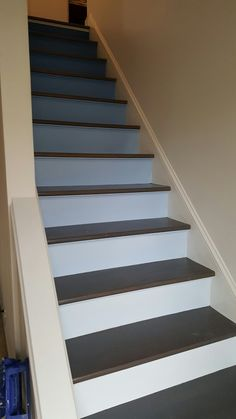 Ombre Stairs Painted Stairs, Basement Remodeling, House Goals, Man Cave  Colors, Paint
