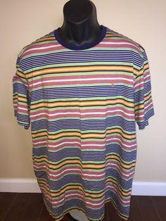 83693238 *SOLD* Vintage 1990s Polo Ralph Lauren Shirt Rainbow Stripe Rare Retro  Colorful Sport Beach Surfer Punk So Cal California Long Beach XX Large