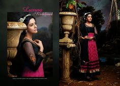 Elegant and Graceful Printed Georgette Party Wear Anarkali Suit in Black & Pink Combination. Comes along with Santoon bottom and matching chiffon dupatta.