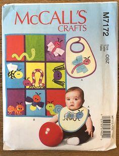 UNCUT Baby Blanket Bib Bug Appliqués Sewing Pattern