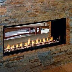 FMI Modern Linear Gas Fireplace Venice Lights Two Side See thru Direct Vent | eBay