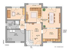 Kern-Haus family house Aura floor plan ground floor - Decorations for Home Dream House Plans, House Floor Plans, Bungalows, Apartment Checklist, Bedroom Flooring, Ground Floor, Interior Design Living Room, Exterior Design, Sweet Home
