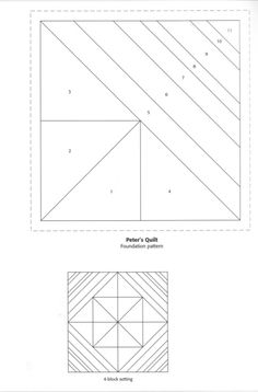Paper pieced square in square can resize on graph paper