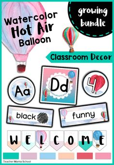 classroom decor | watercolor hot air balloon | growing bundle | This is a growing bundle of classroom décor items with a beautiful, soothing and pleasant theme. There are ready to print items and SOME editable versions in this bundle, too!   The discounted price will go up as more decor items are added.