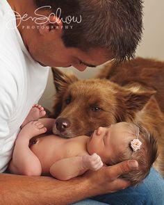 newborn with pet