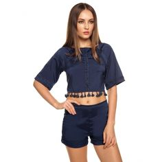 Stylish Ladies Women Casual O-neck Medium Sleeve Tassels Backless Crop Tops And Shorts Outfit Set