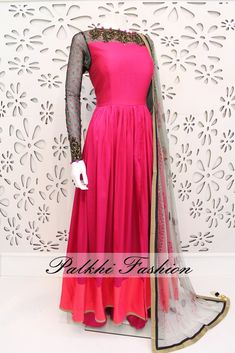 PalkhiFashion Exclusive Full Flair Deep Pink Silk Outfit with palazzo Pant and Designer Duppata.