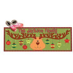 """Personalized Reindeer Ornaments Doormat, 17"""" x 27"""""""