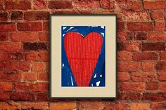 Original Heart Collage  Watercolor Heart Painting  Handmade by Evartstudio