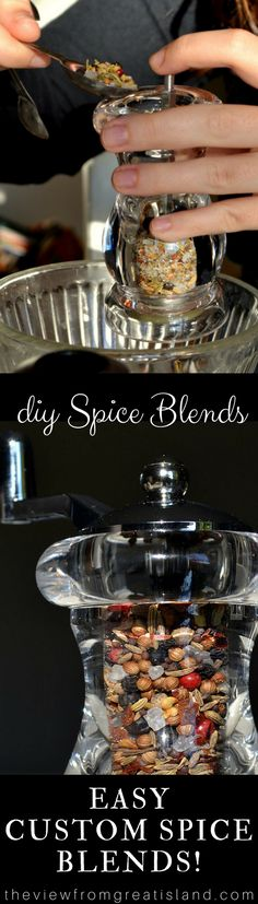 DIY Spice Blends ~ this fun project involves blending together your own custom spice mixes and packaging them up for fabulous holiday food gifts.  Just be sure to make enough to keep for yourself! #CONDIMENT #SPICES #SALT #FOODGIFT #EASYFOODGIFT #BESTFOODGIFT #SEASONING #HOMEMADESEASONINGBLEND #HOMEMADESPICES  #WHOLESPICES