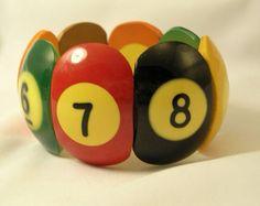 Vintage billiard ball bracelet, colourful loveliness