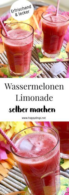 Wassermelonen Limonade selber machen. Leckere Rezept Ideen für den Sommer. Kreative Rezept Ideen mit Wasssermelone: Wassermelonen Feta Salat, Wassermelonen Smoothie, Wassermelonen Eis und Limonade ohne Zucker mit Erdbeeren und Minze. Perfekte Ideen für Sommer Rezepte. #wassermelone #rezepte #wassermelonenlimonade