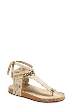 Free shipping and returns on Free People 'Collins' Ankle Cuff Sandal (Women) at Nordstrom.com. Chain embellishments and a slouchy ankle cuff further the boho, laid-back appeal of a suede thong sandal outfitted with a cork midsole.