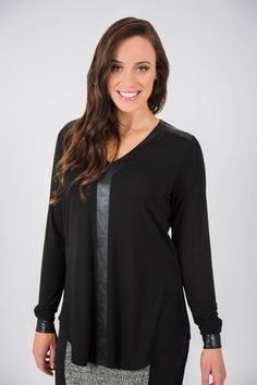 Who doesn't love wearing black! Black Plum Leather Trim Top will be your fav this season. Black Plum, Basic Tops, Winter Wardrobe, Wearing Black, Long Sleeve Tops, Winter Outfits, Winter Fashion, Womens Fashion, Cotton
