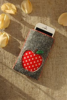 Cute Gray Felt Phone Sleeve Cover, Safety Gadget Bag with Red Polka Dots Apple, Special Small Teache Felt Phone Cover, Phone Covers, Cool Gifts, Best Gifts, Apple Gifts, Handmade Bags, Felt Crafts, Teacher Gifts, Etsy Shop
