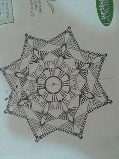 unit flower illustration - Her Crochet Crochet Diy, Beau Crochet, Crochet Snowflake Pattern, Crochet Mandala Pattern, Crochet Stars, Crochet Snowflakes, Crochet Diagram, Crochet Stitches Patterns, Thread Crochet