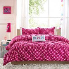 Hot Pink & White Polka Dot Girls Bedding Twin XL Full/Queen Comforter Set with Pillow