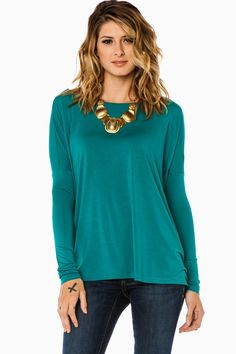 ShopSosie Style : Cozy Long Sleeve Top in Teal by Piko