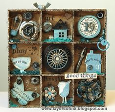 Tiny Stamps and Trinkets Shadow Box - Layers of ink