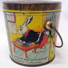 Old Antique Mini Peter Cottontail Canco Lovell Covel Candy Container Rabbit Tin