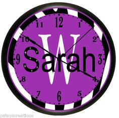 Zebra Girls Pink Teal Purple Bedroom Personalized Wall Clocks Decorating Ideas. For my niece Sara,take big black magic marker and cross out the H cuz she gets PO'D if you spell her name wrong!!!