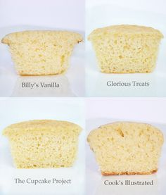 YELLOW CUPCAKE COMPARISON - Laura's Sweet Spot compares 7 recipes:  1. Billy's Vanilla; 2. Glorious Treats; 3. The Cupcake Project; 4. Cook's Illustrated; 5. Taste of Home-Yellow; 6. Taste of Home-White; & 7. Ina Garten
