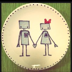 Robot Love. Plate I painted at All Fired Up, a paint-your-own pottery studio.