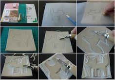 Stempel maken - handleiding (nodig: stempelrubber/gum, snijmatje, gutsen, kalkpapier, inktkussen) (@ elisanna.blogspot.be)