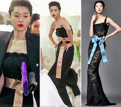 Gianna Jeon Ji Hyun (전지현) was dressed to the nines, attending a wedding. Her strapless lace Dolce & Gabbana gown was completed with a black blazer, Swarovski-encrusted clutch and Jimmy Choo 'Abel' pumps.