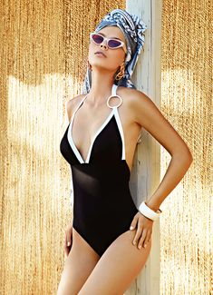 One-piece Swimsuit with thin straps around the neck. Opens into a deep feminine V – neckline. Low-cut back. It raises all body shapes by offering style and comfort combined with a fabric that enhances the figure. Luxury Swimwear, Bikini Swimwear, Swimsuits, Bikinis, Body Shapes, One Piece Swimsuit, Beachwear, Perfect Fit, Bikini