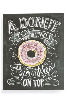 "Free shipping and returns on Lily & Val 'A Donut is Happiness' Chalkboard Print Wall Art at Nordstrom.com. A charming print based on original chalkboard art features a colorful rendering of a delectable donut and the saying, ""A donut is happiness with sprinkles on top."""