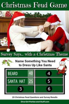 christmas games Internet survey results and instructions for a game of Christmas feud. This Christmas Family Feud game is perfect for everything from office parties to family gatherings. Christmas Family Fued, Fun Christmas Party Games, Christmas Games For Adults, Xmas Games, Adult Christmas Party, Holiday Games, Xmas Party, Christmas Themes, Family Christmas Activities