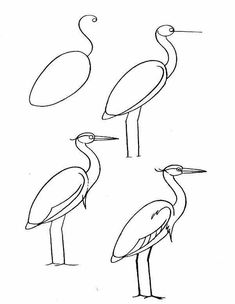 Painting for Kids. Easy Heron Drawing Tutorial / How to Draw. Painting and Drawing for Kids Learn Watercolor Painting, Painting For Kids, Painting & Drawing, Easy Drawings For Kids, Drawing For Kids, Bird Drawings, Animal Drawings, Art Lessons For Kids, Art For Kids