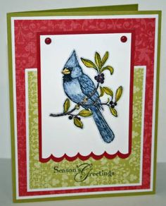 I was dreaming of a BLUE Cardinal... by OregonStamper - Cards and Paper Crafts at Splitcoaststampers