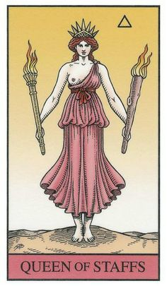 Queen of Staffs - Alchemical Renewed Tarot by Robert M. Place, Leisa ReFalo
