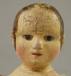 DISCOVERY - SALE 2616M - LOT 29 - IZANNAH WALKER CLOTH DOLL, CENTRAL FALLS, RHODE ISLAND, MID-19TH CENTURY, STOCKINET PRESSED INTO MOLD, FACIAL FEATURES AND HAIR OIL-PAI - Skinner Inc