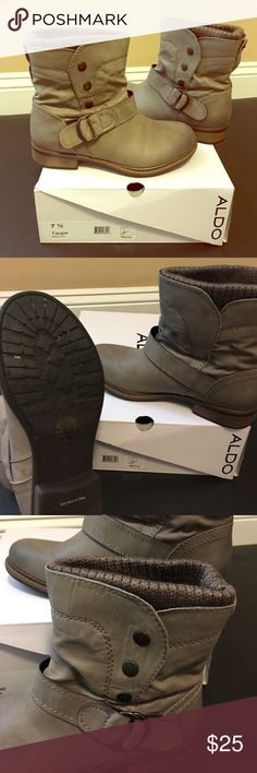 Taupe moto boots! Trendy taupe Aldo moto boots, worn one time, practically new! Boots have side snaps and buckle. Comfy with leggings or jeans! Aldo Shoes Combat & Moto Boots