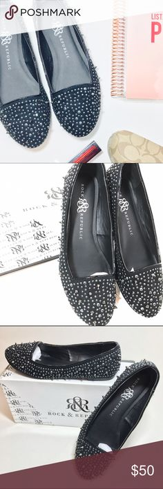 Black Rock & Republic Spiked Flats Super hot SAMIRA black flats by Rock and Republic. The have a mixture of sequin gems and spikes studs! It is the perfect touch of edgy chic!! They can easily go from day to night. They are like new and have never been worn outside of the house. They come with the original box and All original packaging is included. No wear no flaws. Size 8 true to size. Rock & Republic Shoes Flats & Loafers