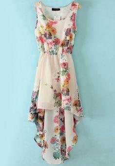 White Sleeveless Bandeau Floral High Low Dress - Sheinside.com Mobile Site Cute clothes cheap