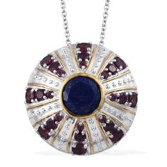 SUGAR by the Sea by Gay Isber Lapis Lazuli (Rnd 3.90 Ct), Orissa Rhodolite Garnet Pendant With Chain (20 in) in 14K YG and Platinum Overlay Sterling Silver Nickel Free TGW 8.06 Cts.
