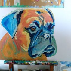 Cool dog art and wall art #dogs #art #painting #love #instagood #Boxerdog Work in progress. To see more of my art be sure to follow me. Click the link in my profile to buy prints. They make great gifts or why not treat yourself? I ship to any country.  I also create custom / bespoke paintings from photos of your dog. Email oscarjetson@gmail.com for a full pricelist.  #dogs #art #painting #artist #dogsofinstagram #dogoftheday #instagood #decor #dogmom#boxerdog #boxergram #boxer…